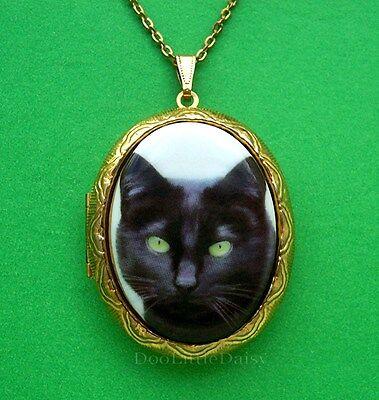 Cats Porcelain BLACK CAT Kitten Feline CAMEO Goldtone Locket Pendant Necklace