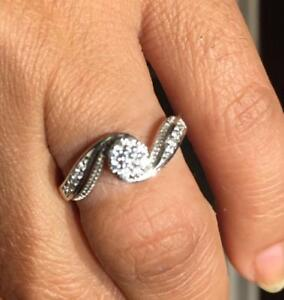 Brand New in Box Natural Diamond in 14K White Gold Engagement or Promising Ring (Size 6-7) From Spence Jeweler