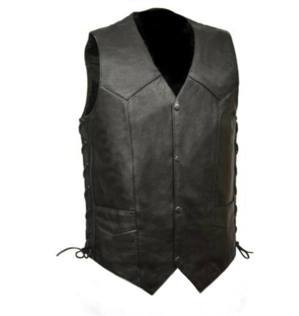 Men Side Laces Motorcycle Biker Concealed Carry Leather Vest