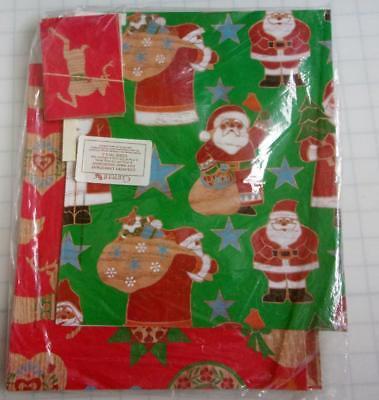 NOS Vintage 80's Current Christmas Gift Wrap & Cards Quilt Pattern Santa Deer ()
