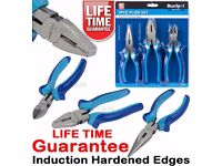 NEW - Pliers 3pc HARDENED Combination Plier Set Side Cutters Long Nose Pliers Wire Cut