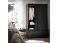 Ikea Wardrobe / Big Wooden Wardrobe / Double Sliding Doors / Four Drawers / Like New
