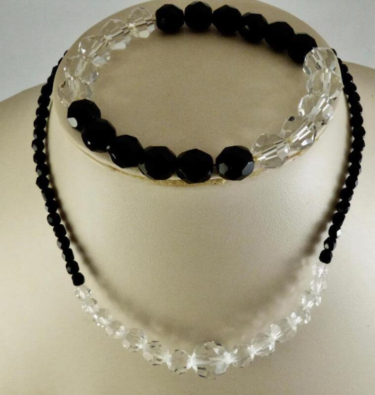 Vintage Black & Clear Crystal Bead Graduated Necklace & Bracelet Set