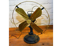 GEC industrial desk vintage fan heavy metal retro antique mancave interior design