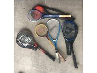Collection of 5 Squash Raquets