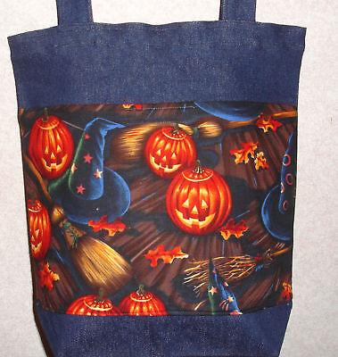 New Handmade Med Halloween Hats & Brooms Treat Tote Bag (Halloween Broom Bags)