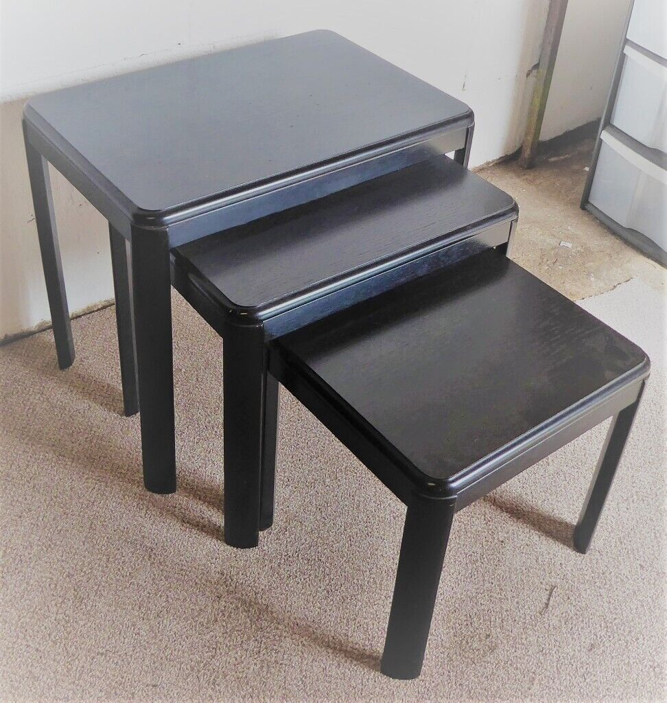 Super Nest Of Three Small Black Wood Tables In Dereham Norfolk Gumtree Andrewgaddart Wooden Chair Designs For Living Room Andrewgaddartcom