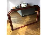 Large wall mirror mahogany effect