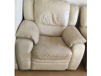 Cream electric recliner