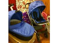 Oyster Pram& pushchair and accessories with free fisher price musical bouncy horse.