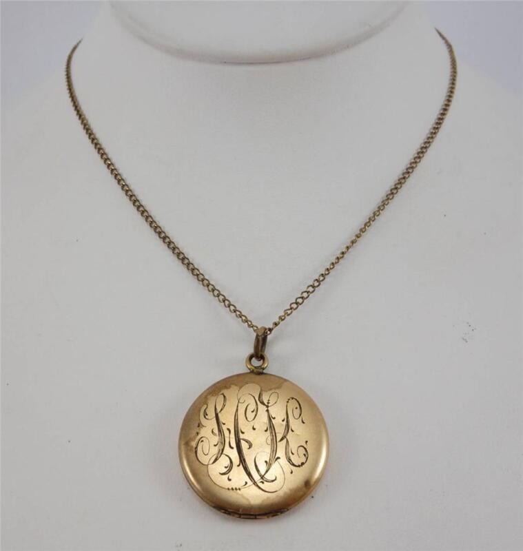 """vtg Antique ART NOUVEAU ladies 24.5"""" GF chain necklace w/ round floral locket"""
