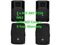 2 x RCF ART 715 A MkII Active PA Speakers (700W RMS) great DJ / Band & COVERS RCF 715