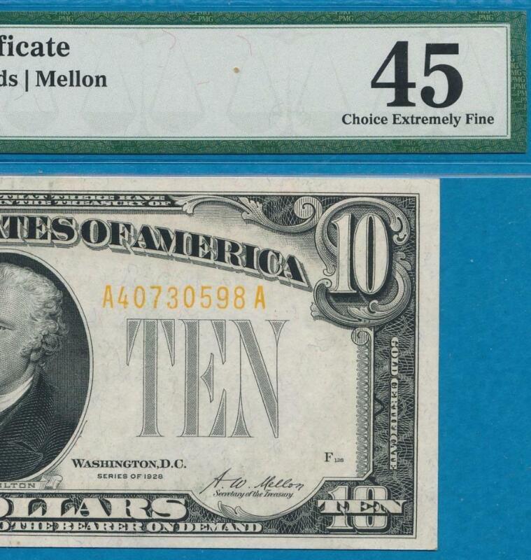$10. 1928 GOLD SEAL GOLD CERTIFICATE PMG BEAUTIFUL CERTIFIED XF45