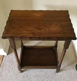 Barley twist oak side table