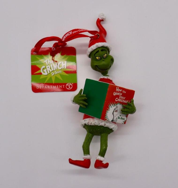 Dept 56 Enesco The Grinch Reading Book How Stole Xmas Tree Ornament New With Tag