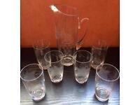 Vintage Etched Glass Water Set