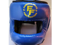 Furiousfistsuk Synthetic Leather Head-guard with Nose Protector Blue Color