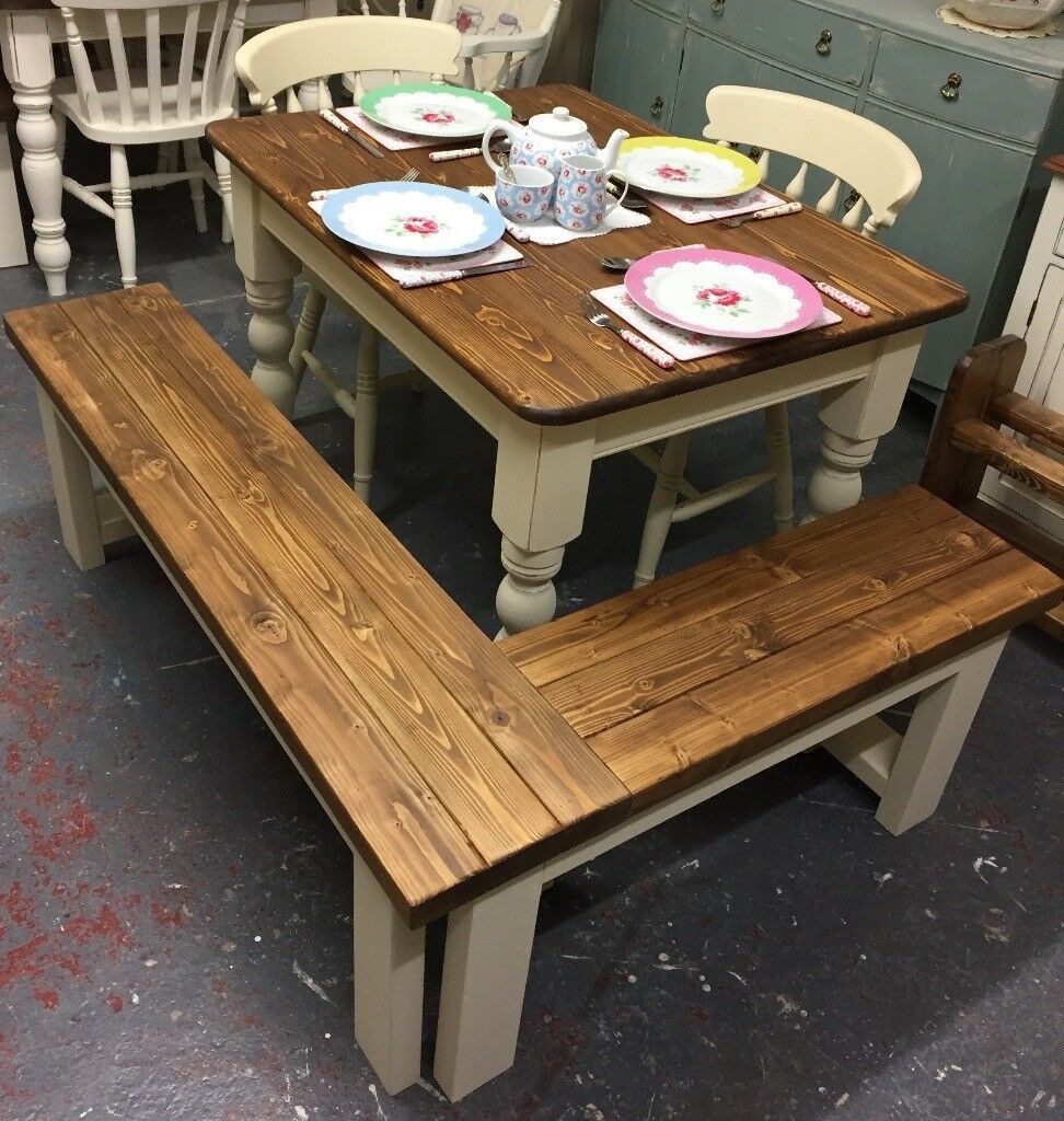 fabulous small pine farmhouse table with 2 chairs and corner bench