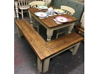 Fabulous Small Pine Farmhouse Table with 2 Chairs and Corner Bench- Old Ochre-Shabby Chic