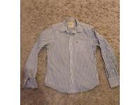 Men's large Hollister blue pin striped formal shirt