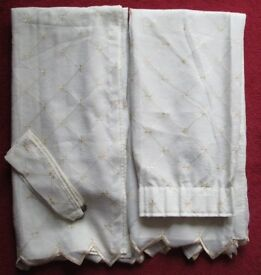 """Pr CURTAINS, cream f/lined with tie backs, 46"""" w x 52""""drop/length, pretty embroidered design in gold"""
