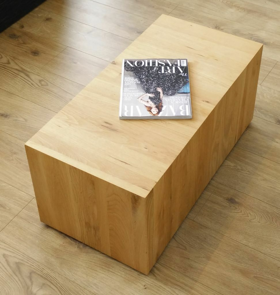 Living Room Bench Seating Dwell Oak Wood Coffee Table Solid Chunky Block Tv Stand Bench