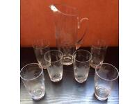 Vintage Etched Glass Water Set