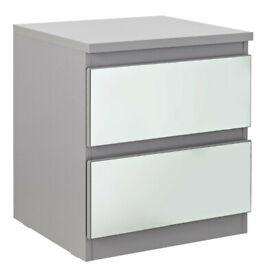 Home Jenson 2 Drawer Bedside Table - Grey Gloss