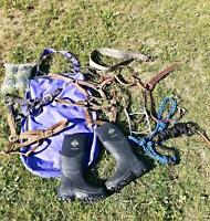 Miscellaneous tack and muck boots for sale
