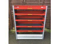 Van Racking / Shelving - BOTT - 5 Shelves / 1 Cupboard - V G Condition - Heavy Duty
