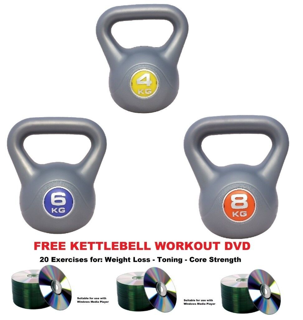 Kettlebell Set 4 6 8kg Fitness Weights Vinyl Kettlebells Free Workout DVD