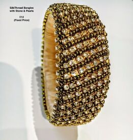 Indian designer bangle made with Silk Thread, beads, stones.