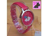 Radley RY2480 – Ladies 'Silver Lining' Lolly Pink Leather Strap Watch – RRP £85.00