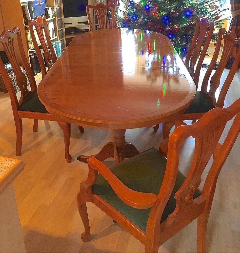 Yew wood reproduction oval dining table and chairs seating ...