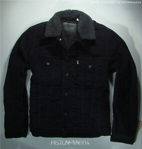 Levis Mens Black Corduroy Sherpa Trucker Jacket SMALL NWT