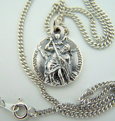 """Mens Womens St Saint Christopher 3/4"""" Italian Hand Crafted Silver Pendant Medal"""