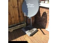 Satellite dish with al lot of accessories