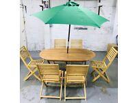 Newbury 6 seater wooden patio set wood