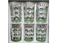 BOX OF 6 COLOURED GLASSES WITH SILVER