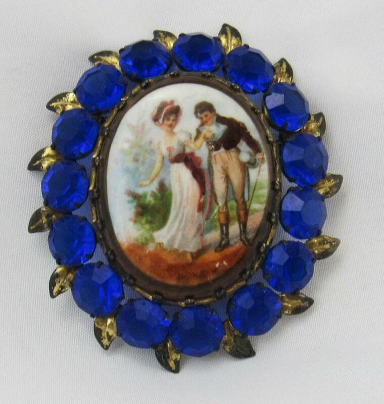 Antique Hand Painted Romantic Scene Portrait Porcelain & Rhinestone Pin