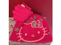 Girls Hello kitty hat and glove set pink