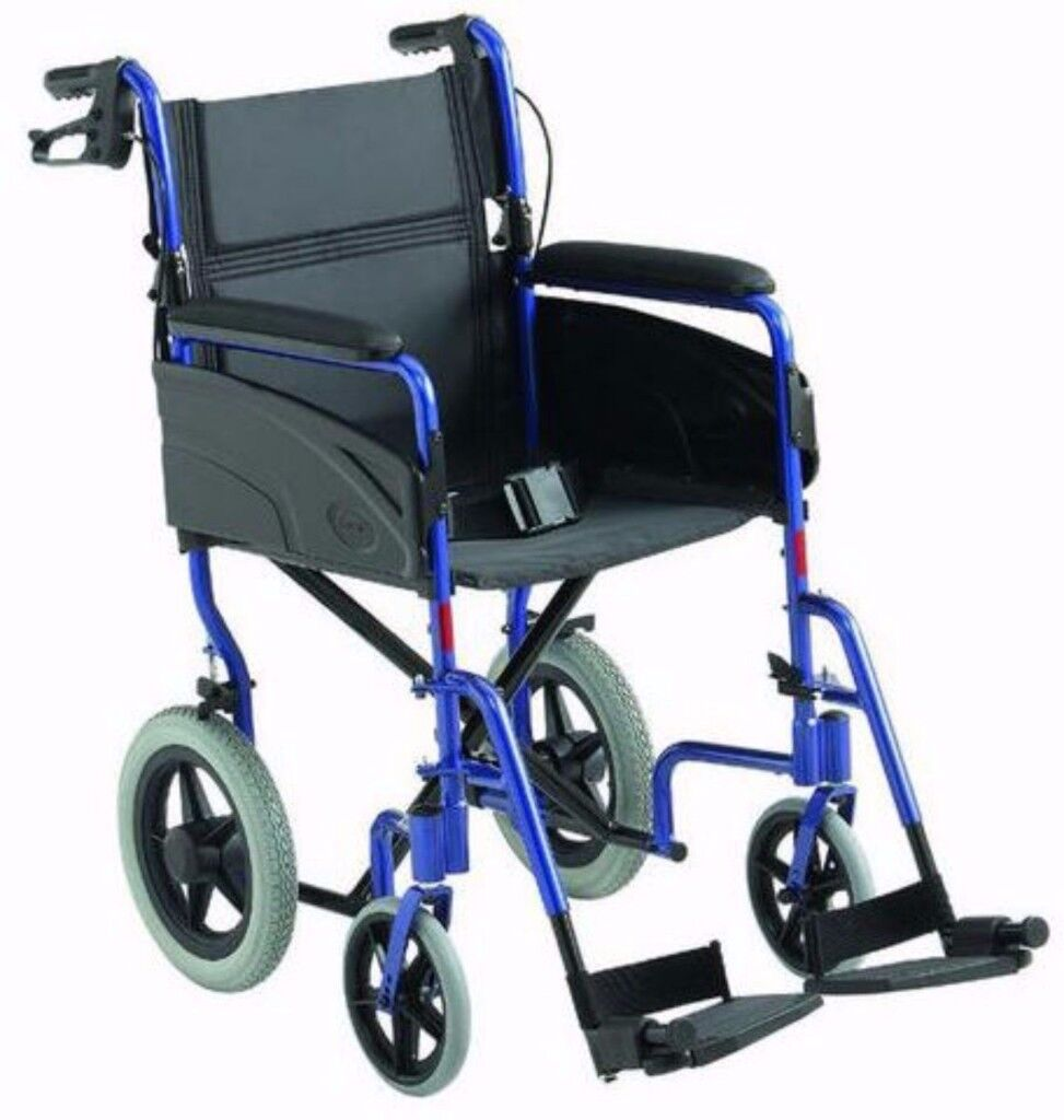 Invacare AluLite Lightweight Aluminium Portable Transit Wheelchair foldable with hand breaks