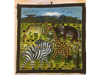 Original African oil painting on canvas direct from Zanzibar in authentic Swahili 'tingatinga' style