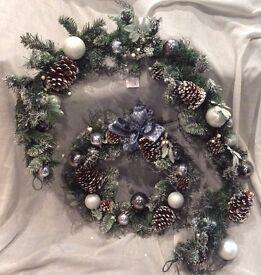 Artificial door wreath and garland set
