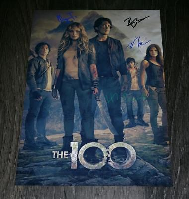 """THE 100 PP CAST SIGNED 12""""X8"""" A4 PHOTO POSTER ELIZA TAYLOR BOBBY MORLEY S2"""