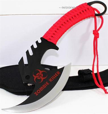 Zombie Killer Skull Splitter Throwing Axe Combat Fighter Survival Knife+Sheath R
