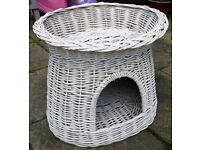 Cat Kitten Bed House Home White Stylish Contemporary Chic Wicker Indoor