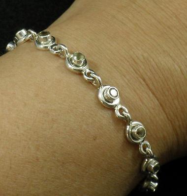 .925 Sterling Silver Vintage Style Citrine Faceted Round Gemstone Bracelet 7 1/8