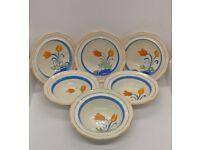 Lovely, vibrant set of 6 Myott Son & Co small Art Deco Hand Painted Bowls