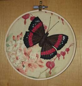 Hand-embroidered butterfly in a hoop